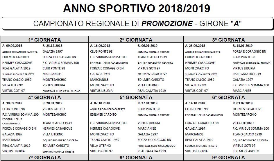 Calendario Promozione Girone A.Promozione 2018 2019 Ecco I Calendari Completi Dei Quattro