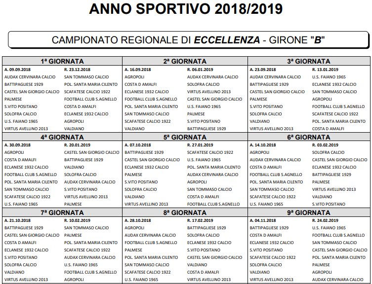 Calendario Eccellenza.Eccellenza 2018 2019 Ecco I Calendari Completi Dei Gironi