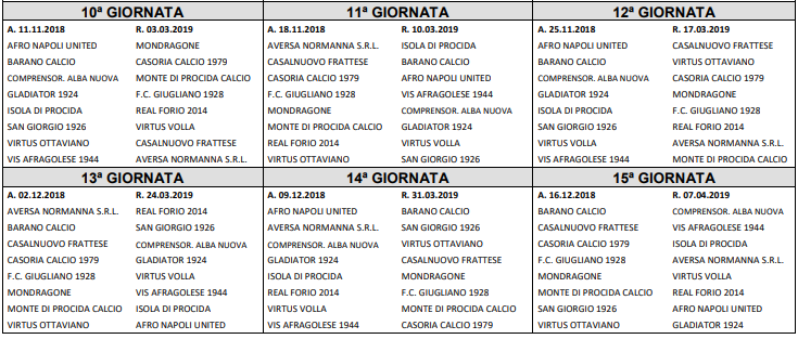 Calendario Eccellenza Girone B.Eccellenza 2018 2019 Ecco I Calendari Completi Dei Gironi