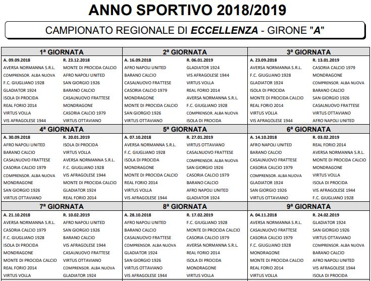 Calendario Promozione Campania.Eccellenza 2018 2019 Ecco I Calendari Completi Dei Gironi