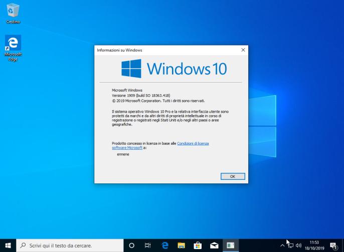 Microsoft Windows 10 Pro v1909 (19H2) - ITA