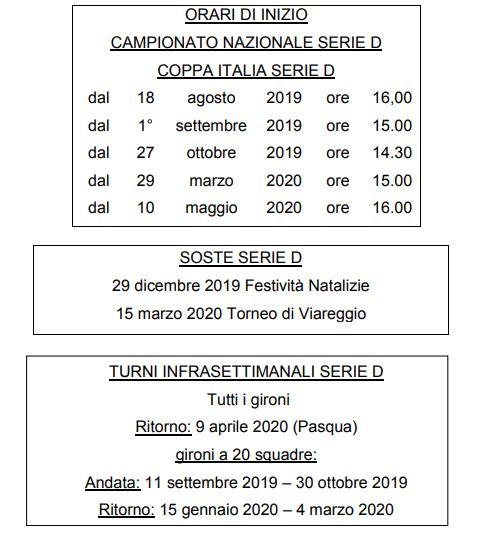 Calendario Serie D Girone H 2020 2020.Serie D 2019 2020 Orari Date Soste E Turni