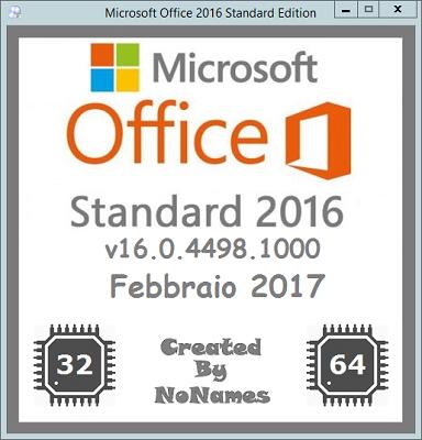 Microsoft Office Standard 2016 All-In-One v16.0.4498.1000 Febbraio 2017 - ITA