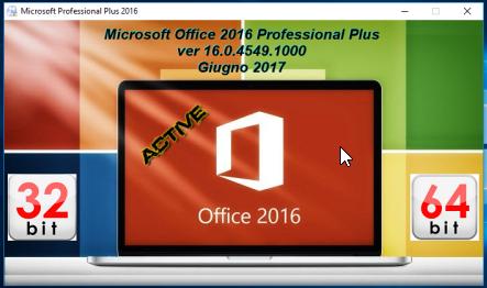 Microsoft Office Professional Plus 2016 VL v16.0.4549.1000 AIO Giugno 2017 - ITA