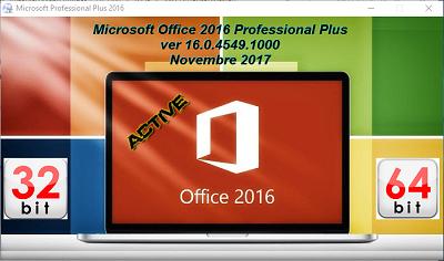 Microsoft Office Professional Plus 2016 VL v16.0.4549.1000 AIO Novembre 2017 - ITA