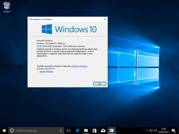 Microsoft Windows 10 Home Redstone 2 v1703 build 15063 - ITA