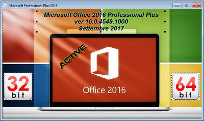 Microsoft Office Professional Plus 2016 VL v16.0.4549.1000 AIO Settembre 2017 - ITA