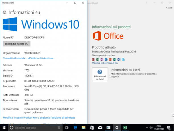 Microsoft Windows 10 Pro v1703 + Office 2016 Pro Plus Agosto 2017 - ITA