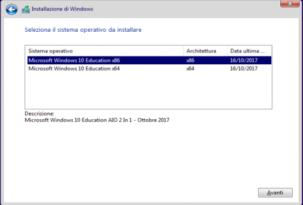 Microsoft Windows 10 Education VL  v1709 AIO 2 In 1 - Gennaio 2018 - Ita
