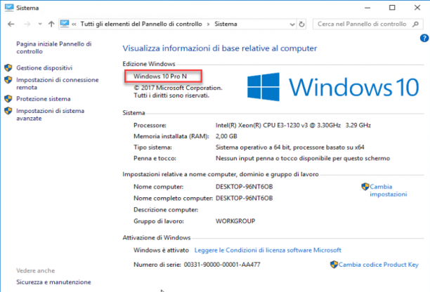 Microsoft Windows 10 Pro N Edition v1709 - Aprile 2018 - ITA