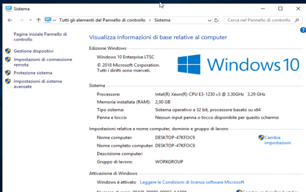 Microsoft Windows 10 Enterprise LTSC 2019 - Gennaio 2020 - Ita