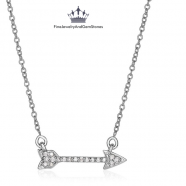 14k White Gold 18 inch Necklace with Gold and Diamond Arrow.png