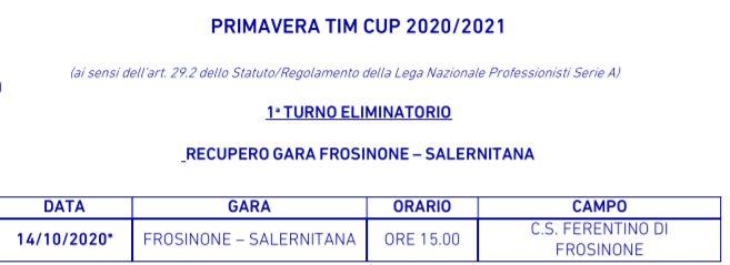 Primavera Tim Cup 2 Turno Eliminatorio Il Programma Con Orari E Campi Frosinone Salernitana Si Recupera Il 14 Ottobre