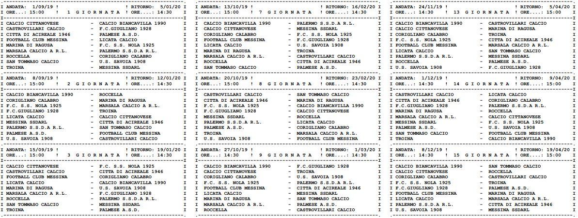 Calendario Serie D Girone H.Serie D Ecco I Calendari Completi Dei Gironi G H I
